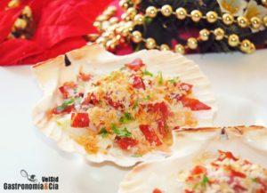 Vieiras rellenas con tacos de jamón para cena de Navidad